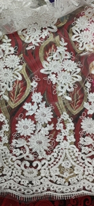 Image 1 - White Latest Nigerian Tulle Lace 2020 French Net Tull Lace Fabric For Nigerian Wedding Embroidery African Lace Fabric L G006