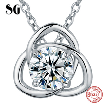 цены SG 100% 925 sterling silver big CZ stone pendant necklaces with chain necklace fashion jewelry women necklace gifts