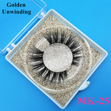 Golden Unwinding MK-25 3d natural mink-eyelashes wholesale siberian 3d mink lashes pack strip lashes custom packaging vendors
