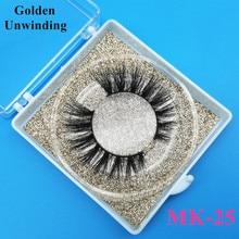 Golden Unwinding MK-25 3d natural mink-eyelashes wholesale siberian 3d mink lashes pack strip lashes custom packaging vendors