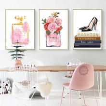 Watercolor Fashion Paris Perfume Vogue Makeup Wall Art Canvas Painting Nordic Poster And Print Picture For Living Room Decor