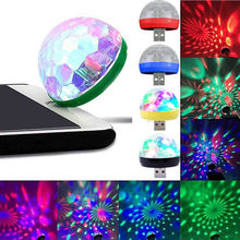 USB Mini LED RGB Disco Stage Light Party Club DJ KTV Xmas Magic Phone Ball Lamp Voice control Automatic lighting for smart phone(China)