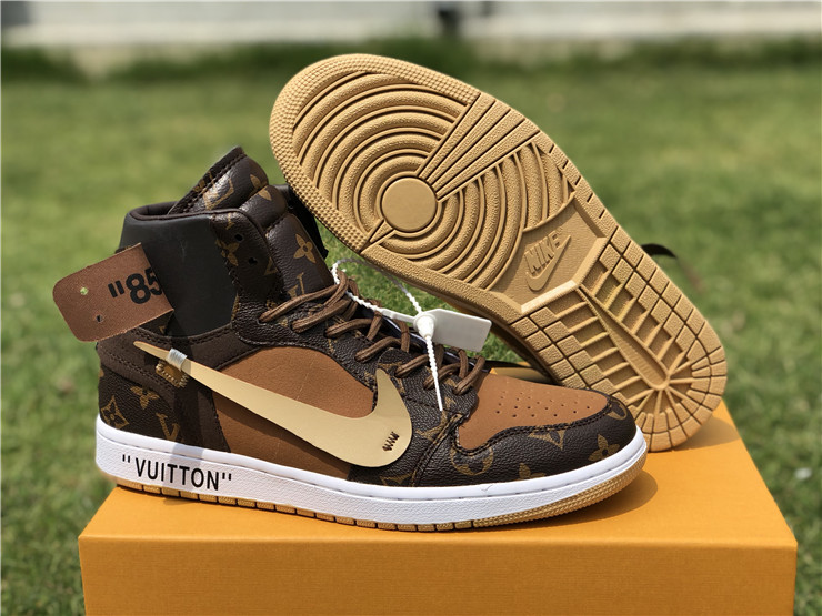 Nike Air Jordan 1 Louis Vuitton AJ1 Men Basketball Shoes Man Outdoor Leisure Shoes High-end Comfortable High Sneakers,Size 40-46
