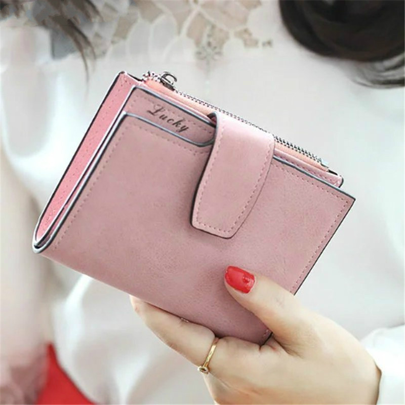 2019 Vintage Matte Women Wallet Bag Luxury Brand Ladies Casual Leather Hasp Zipper Pouch Short Clutch Solid Small Female Purse