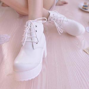 Image 3 - Frauen Anime Cosplay Runde Kopf Hohe Ferse JK Einheitliche Japanischen Studenten Leder Stiefel Party Dance Lolita Königliche Schwester Martin Schuhe
