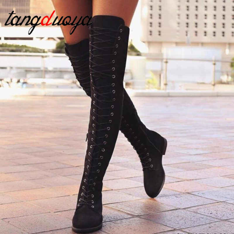 Sexy Lace Up Over Knee Boots Women rome