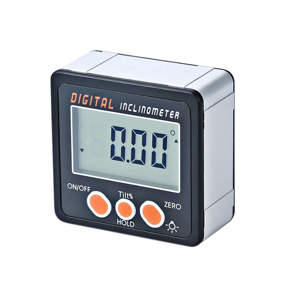 Inclinomètre numérique 0-360 degrés rapporteur électronique coque en alliage daluminium boîte biseautée numérique jauge dangle compteur aimants Base