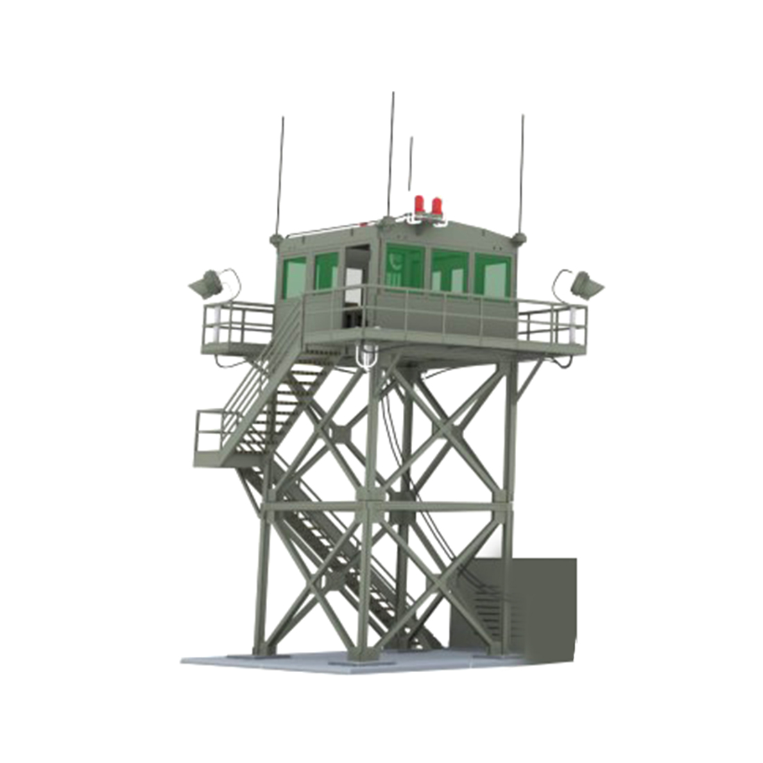 1:72 2-Storey Watchtower Model Sand Table Military Model Lookout Tower Bulk Decor Model Educational Toy Gift For Child Kid Adult