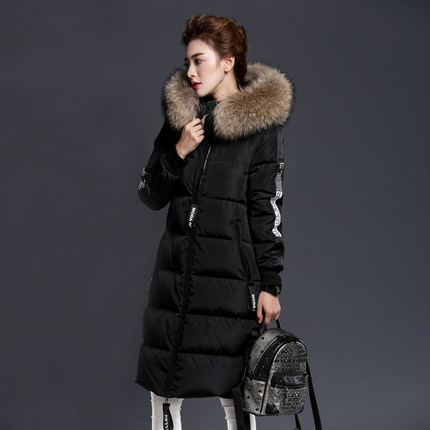 Winter Ladies' Duck Down Jacket New Natural Racoon Rur Letter Pattern Long Thick Feather Jacket Overcoat 2XL LX818