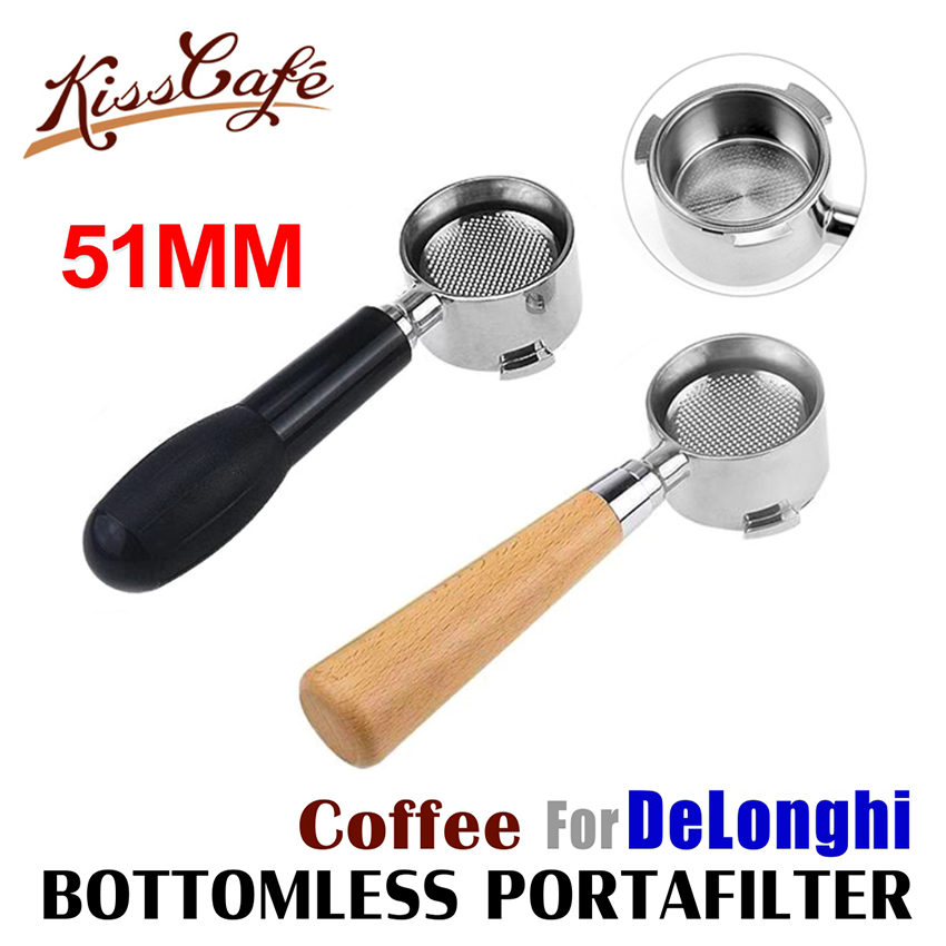 Delonghi EC680/EC685 필터 용 커피 밑면 Portafilter 51MM 스테인레스 스틸 교체 필터 바구니 커피 액세서리