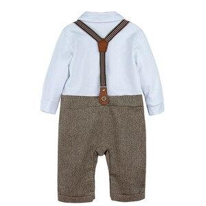 Image 3 - Neugeborenen Baby Jungen Kleidung Set Säuglings Gentleman Outfit Baby Formale Strumpf Overalls Herbst Winter Lange Hülsenspielanzug 3PCS