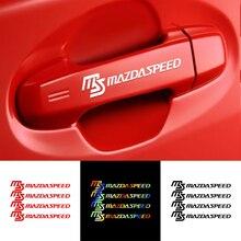 4個マツダスピードバッジ車のドアハンドルの装飾ステッカーステッカーアクセサリーマツダアクセラ用アテンザCX 3 CX 5 CX 8デミオmps 3 6 ms