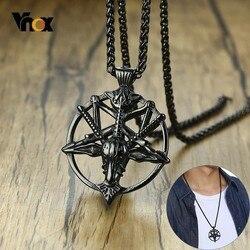 Vnox Punk Devil Satan Goat Head Pendant for Men Demon Pentagram Black Stainless Steel Rock Necklaces with 24