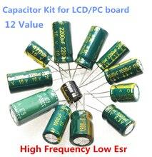 120 pcs/lot 4V 6.3V 10V 16V 35V 1000uf 2200uf 3300uf 470uf 680uf kit de condensateur électrolytique en aluminium pour carte mère dordinateur LCD
