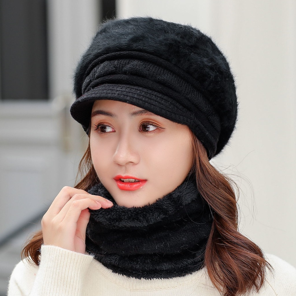Winter Rabbit Knitted Hat For Women Cap And Scarf Set Mom Thick Wool Beanies Scarf Female Knitted Winter Accessories Girls Gift