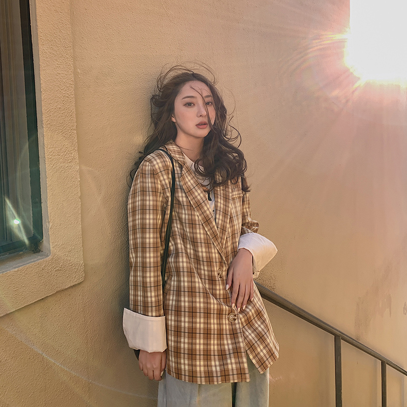 Plaid Korean Ladies Blazer Yellow  Stylish Loose Casual Suit Jacket  Simple Long Sleeve Bleyser Mujer Women's Clothing MM60NXZ