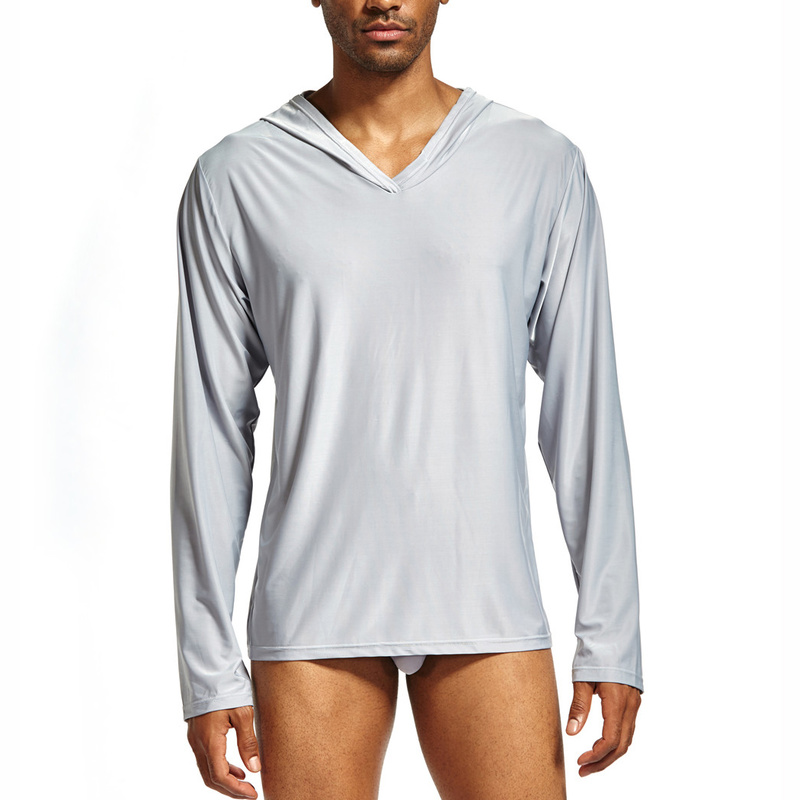 Mens Undershirts With Hooded Ice Silk Breathable Long Sleeve T-shirts Slim Fitness Tops Homme Sweatshirts Homewear Men Clothes