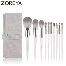 Zoreya Brand Soft Synthetic Hair Eye Shadow Brush White Handle Blending Blush Lip Powder Highlighter Makeup Brushes Set 10pcs