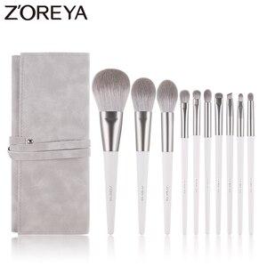 Image 1 - Zoreya Brand Soft Synthetic Hair Eye Shadow Brush White Handle Blending Blush Lip Powder Highlighter Makeup Brushes Set 10pcs