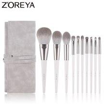 Zoreya marca pelo sintético suave sombra de ojos cepillo mango blanco mezcla rubor labio polvo resaltador maquillaje brochas Set 10 piezas