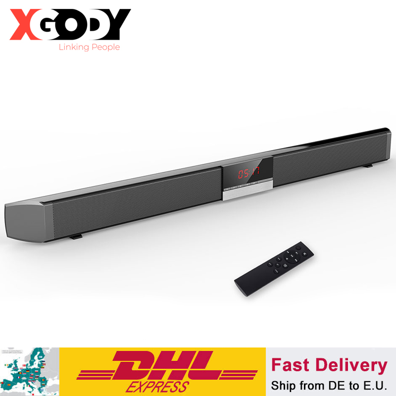 XGODY Soundbar TV Heimkino SR100 Bluetooth Lautsprecher 2,0 Kanal Wireless Audio Für PC Unterstützung Fernbedienung 3,5mm AUX TF USB