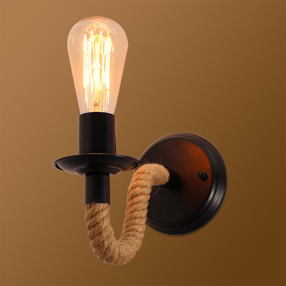 Hemp Rope Vintage Wall Lamp E27 Rustic Wall Sconces Bedside Lamp Wrought Iron Wall Indoor Lighting Retro Sconce Led Indoor Wall Lamps Aliexpress