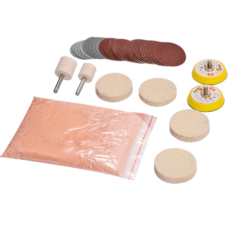 34pcs/Set Deep Scratch Remove Glass Polishing Kit 8 OZ Cerium Oxide+ Sanding Disc + Wool Polishing Pad For Windscreen Windows