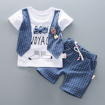 Cotton Boys Clothes Sets Suit For Boy Summer Shirts Shorts 2 pieces Suit Children Set Clothing Kids New baby Toddler 1 year Wear 1
