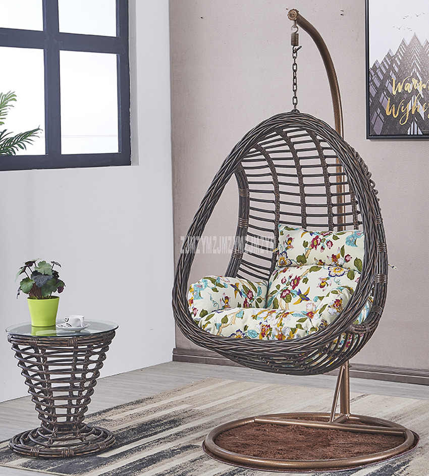 Swing Seat Rattan Weave Swing Hanging Chair With Handrail Home