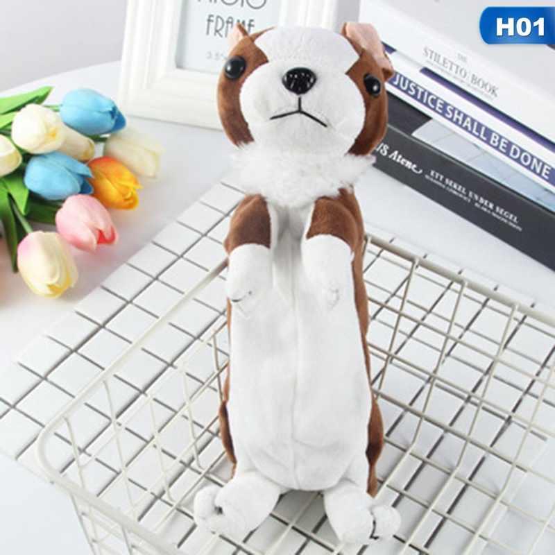 1PC Kawaii Kartun Plush Toy Anjing Pensil Case Cute Hewan Pena Tas Kotak Boneka Boneka Hadiah Perlengkapan Sekolah alat Tulis