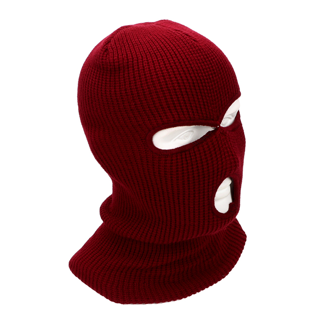 LEEPEE 3 Hole Balaclava Knit Hat Army Tactical Mask Winter Stretch Ski Full FaceMask Full Face Helmet 1