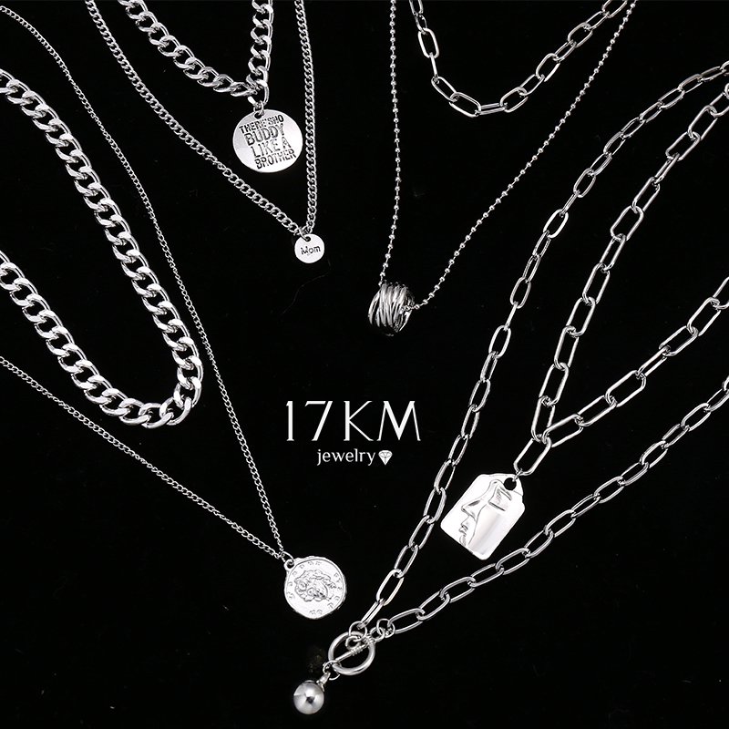 17KM Hiphop Gold Silver Color Long Chain Necklace For Women Party Punk Multilayered Ball Cross Pendant Necklace 2021 Jewelry