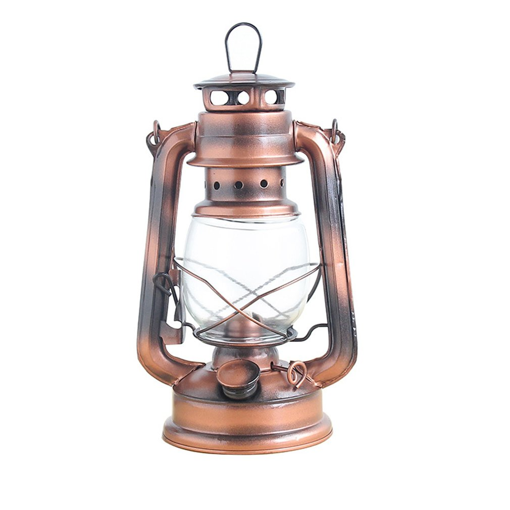 Vintage Retro Wrought Iron Kerosene Lamp Ornaments Portable Horse Lamp Glass Cover Metal Crafts Home Decoration Ornaments
