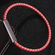 Модный кожаный браслет для женщин из нержавеющей стали с магнитной
