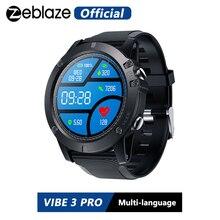 ساعة رياضية من Zeblaze موديل VIBE 3 PRO ملونة تعمل باللمس مناسبة لمعدل ضربات القلب IP67 مقاومة للمياه والطقس جهاز تشغيل الموسيقى عن بُعد للرجال بنظام التشغيل IOS والأندرويد