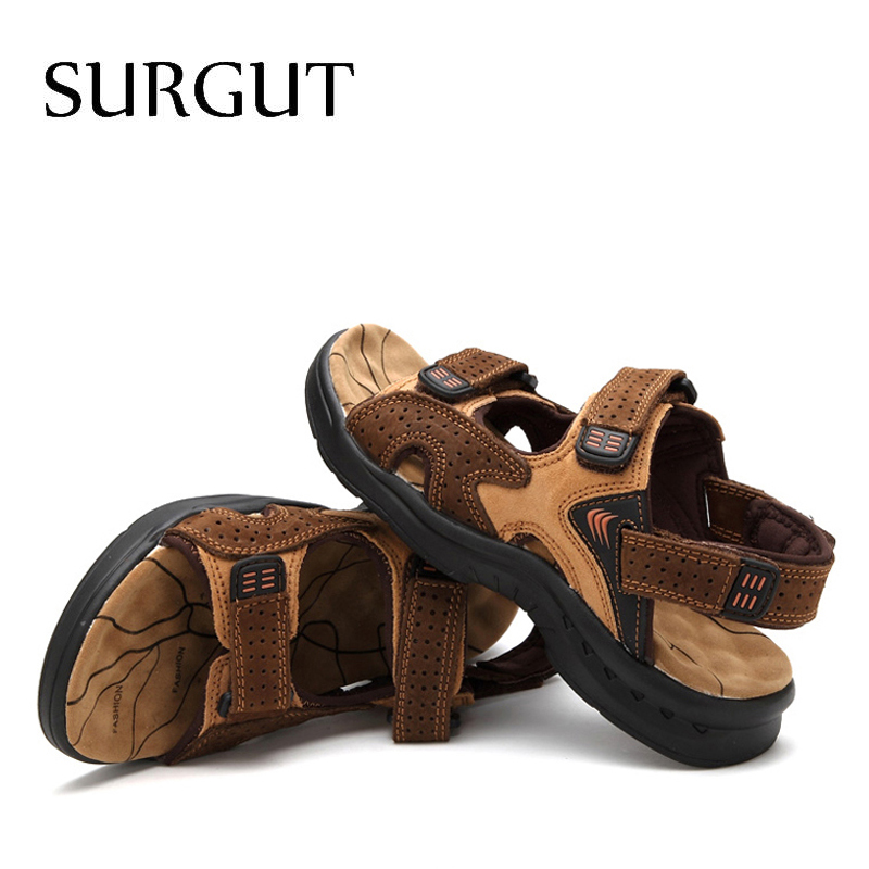 Image 5 - SURGUT Fashion Casual Men Beach Sandals Handmade Genuine Leather Summer Shoes Retro Sewing Classics Men Footwear Zapatos Hombrehombre zapatoshombre casualhombre shoes -