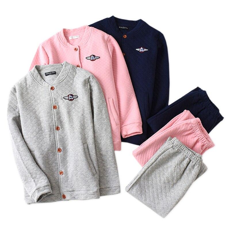 New Thicken Winter Couple Pajamas Sets Men And Women 100% Scuba Cotton Keep Warm Long Sleeve Sleepwear Men Pyjamas Women