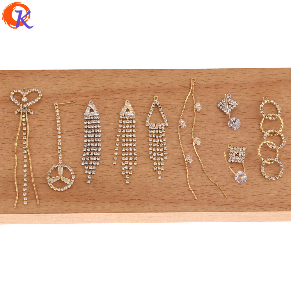 Cordial Design 50Pcs CZ Earrings Connectors/DIY/Jewelry Accessories/Rhinestone Claw Chain/Hand Made/Jewelry Findings Component