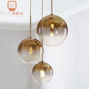 Image 1 - بلوبل الحديثة قلادة ضوء الفضة الذهب التدرج كرة زجاجية معلقة مصباح Hanglamp ضوء مطبخ تركيبات غرفة المعيشة الطعام