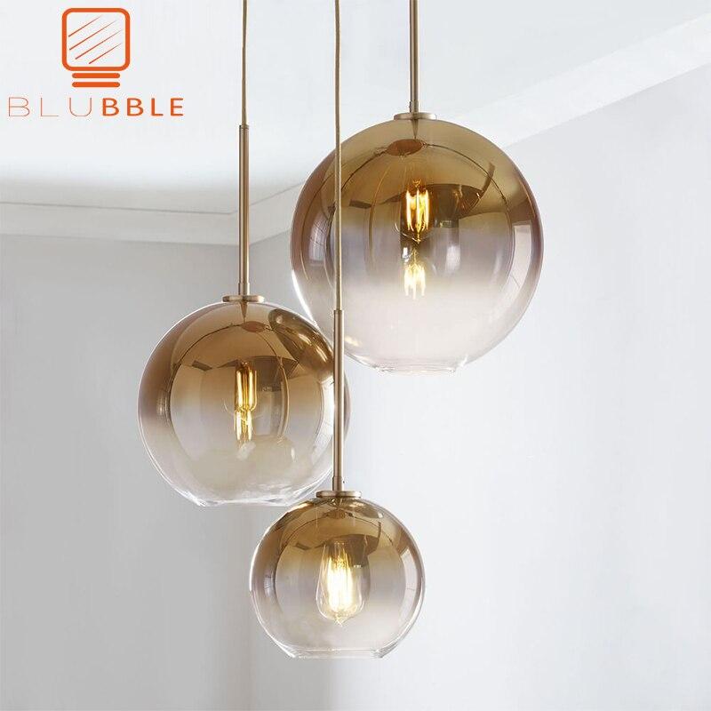 BLUBBLE Modern Pendant Light Silver Gold Gradient Glass Ball Hanging Lamp Hanglamp Kitchen Light Fixture Dining Living Room