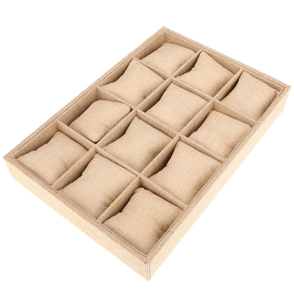12-Slot Jute Lining Jewelry Box with Pillows Bangle Ring Beige