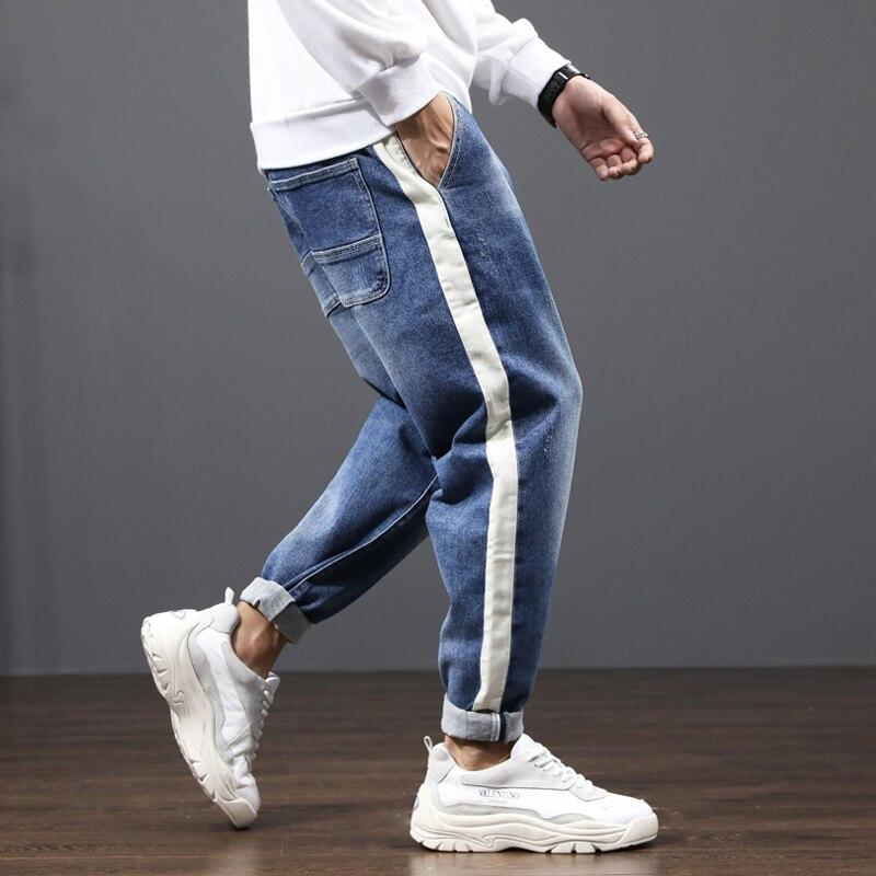 Fashion Streetwear Men Jeans Japanese Vintage Designer Denim Harem Pants Hombre White Stripe Spliced Loose Fit Hip Hop Jeans Men