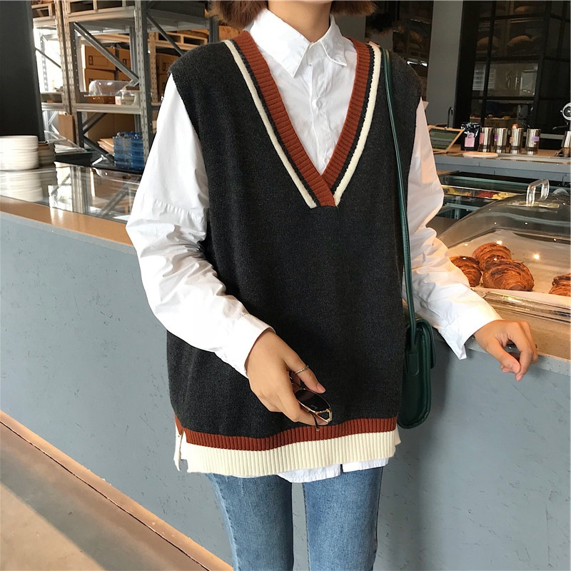 Early Spring 2020 New School College Wind Color Matching V-neck Sweater Women's Head Vest Loose Knit Vest