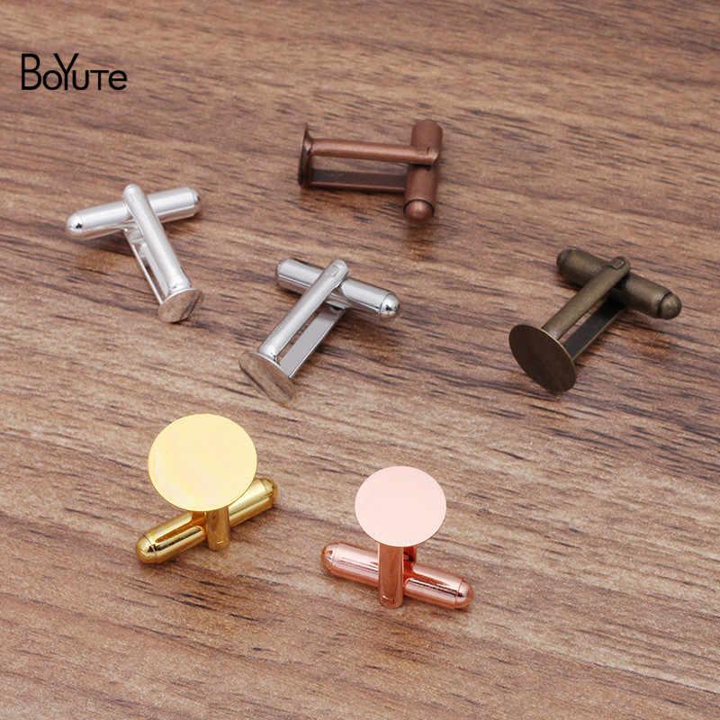 BoYuTe 20 piezas 6 colores 6MM 8MM 10MM 12MM redondo cabujón pegamento almohadilla para gemelos Base de ajuste Diy en blanco joyería hallazgos componentes