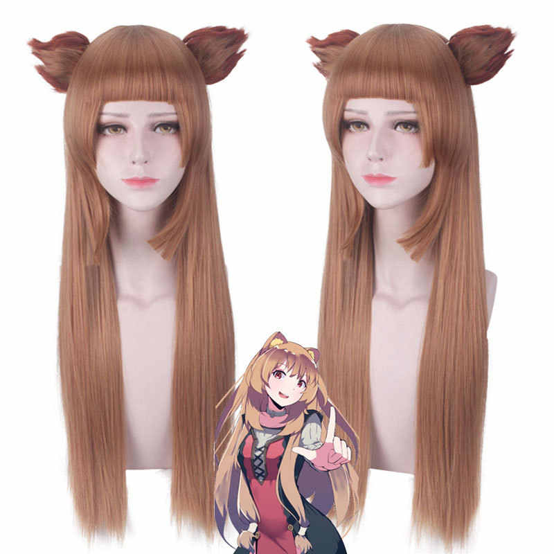 Tate no Yuusha no Nariagari Raphtalia Cosplay Wig with EARS Straight Brown Wig The Rising of the Shield Hero Cosplay Wig