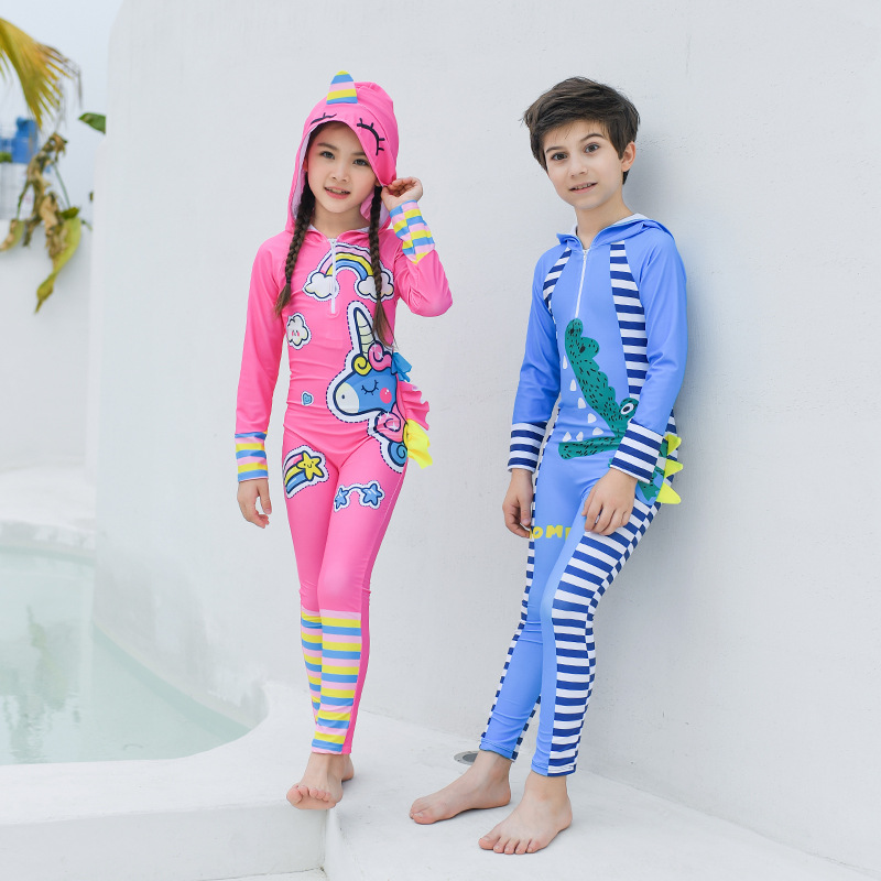 CHILDREN'S Cartoon Bathing Suit Long Sleeve Students Girls BOY'S Siamese Swimsuit Big Boy Swimwear Quick-Dry Diving Suit