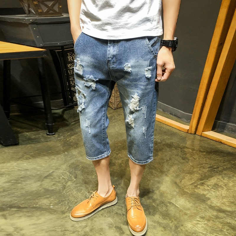 Summer Thin Men Vintage Embroidery Hole Ripped Denim Shorts Fashion Straight Calf Length Casual Loose Fit Male Shorts Streetwear
