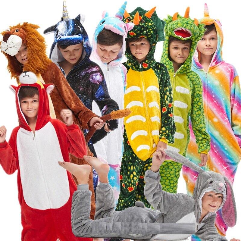 Kigurumi/Детская Пижама с единорогом для девочек; Пижама с капюшоном для мальчиков; Рождественская Пижама с единорогом; одеяло для сна; комбинезон с животными