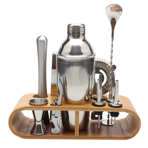 12pcs/set Stainless Bar Cocktail Shaker Set Barware Set Shaker Set with Bamboo Wooden Rack Stand Free Shipping