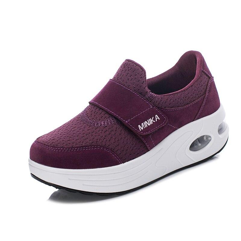 Women's Flat Platform Toning Shoes Outdoor Slip on Ladies Walking Wedge Sports Shoes Female Slimming Fitness Rocking Shoes